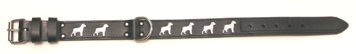 image:halsband dubbel gestikt, Rottweiler, verzilverd, staand