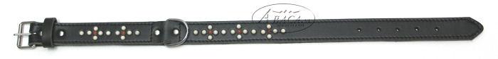 image:donker- bruin lederen halsband Abaca colorfull nr.70